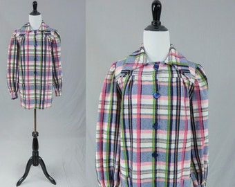 70s Gardening Jacket - Pink Blue White Yellow Green Plaid - Groovy Granny Style - M L