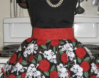 Day of the Dead With Red Trim, Polka Dots and Red Roses Ladies Fancy Hostess Half Apron small