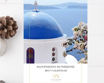 2017 Desk Calendar - Santorini Greece Calendar - Greek Travel Photography - Mediterranean Photos - Christmas Gift Sea Holiday Gift Traveler