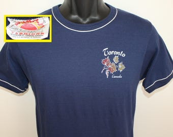 Toronto Canada maple leafs vintage t-shirt XS/S navy blue 80s soft thin Canadian