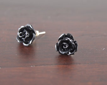 Rose Stud Earrings, Tiny Black Rose Earrings, Halloween Jewelry, Stainless Steel or Sterling Silver, Gift Under 10, Halloween