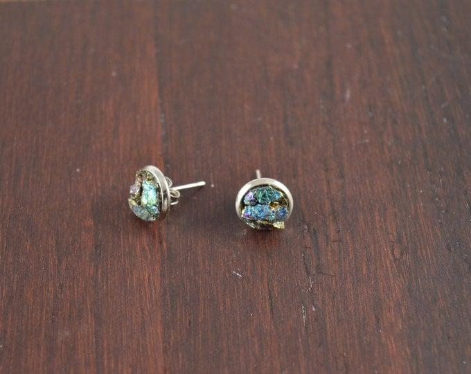 Peacock Ore Druzy Stud Earrings, Natural Peacock Stone Druzy Geode Stud Earrings Silver Plating Purple Drusy Gemstone Stud Druzy Earring