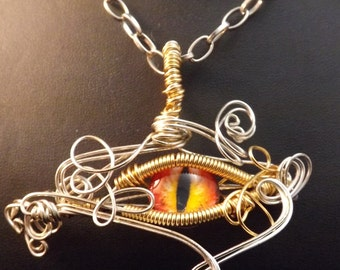 Steampunk Dragons Eye pendant, Dragon Eye Pendant,Wire wrapped pendant, Red eye, Yellow eye,Steampunk dragon eye pendant, Gothic Dragon,