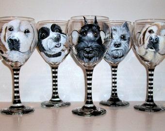 Custom Hand Painted Pet Portraits Pets Pet Lover Set of 5 Dog Portraits Hand Painted On 5 -  20 oz.  Wine Glasses dog cat horse Any Pet