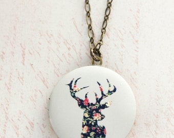 Deer Necklace Unique Modern Photo Locket Pendant Woodland Nature Long Chain Layering Necklace Keepsake Floral Buck with Antlers Gift for Her
