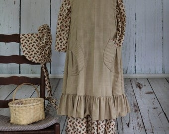 Girls' Prairie Outfit, 7-8, Lily, Old West, Frontier, Ready to ship