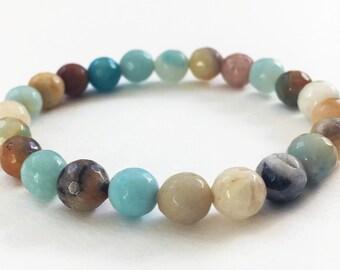 Amazonite bracelet - Stretchy gemstone bracelet, stretch bracelet, beaded bracelet, gemstone jewelry, yoga jewelry, earth tone bracelet