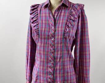 Vintage Womens Medium Pearl Snap Blouse Purple Plaid Cotton with Large Ruffle by Panhandle Slim