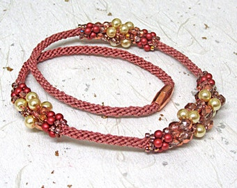 Beaded kumihimo necklace coral necklace terracotta necklace