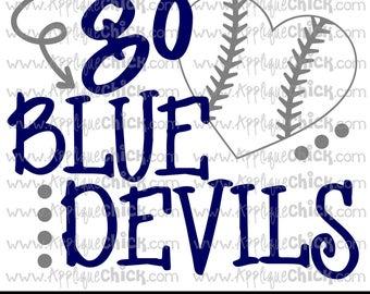 Go Blue Devils Baseball SVG Clipart