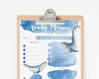 Daily Planner Printable - Whale Planner Pages - To Do List Planner Printable - Digital Planner PDF Download - Daily Planner Whale art