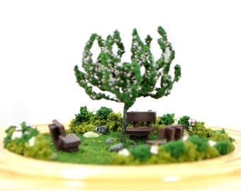 Friends of Three - Miniature Garden Table Top Garden Relaxation Garden Handmade Diorama Dry Terrarium Fairy Garden by A Garden to Treasure