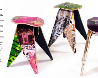 "Deckstool 18"" Recycled Skateboard Stool - Single Stool - Free Shipping Worldwide. Cool skateboarder or reclaimed material design fan gift."