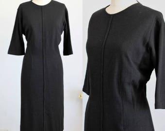 Vintage 1950s Little Black Dress / 50s Wool Dress LBD Little Black Dress / Classic Tailored / Large Size Vintage