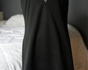 1970s Black Polyester A-line Shift Vintage Dress