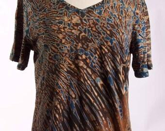 XL Shibori V-Neck T Tie Dye Women's Garnet Brown Black
