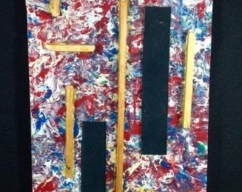 "Vintage ""Jackson Pollock's Burial"" Signed SMIZ Mixed Media Oil Painting on Masonite Art Work 20 1/2"" x 8"" Abstract"