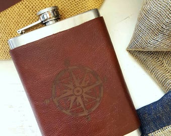 Leather Wrapped Flask - Compass Rose Design