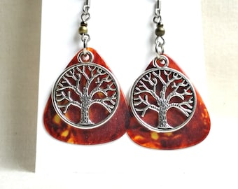 Brown Guitar Pick Earrings with Silver Tree Charms