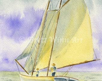 Sailboat Print, Printable Art, sailboat Art, Home Decor, Nautical, Watercolor, Wall decor, Instant Download