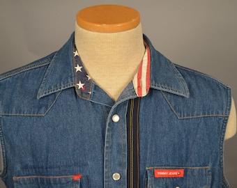 Vintage Tommy Jeans Tommy Hilfiger Blue Denim Jean Vest Jacket Sz M PATCHWORK Boho Festival