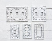 Shabby Chic Light Switch Cover ,Vintage Style Wall Decor , Beach Decor , White Wall Decor ,ALACARTCREATIONS ,Shabby Beach Light Switch Cover