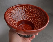 Shaving Bowl Ready To Ship Red Curls Lather Shave Bowl by Symmetrical Pottery