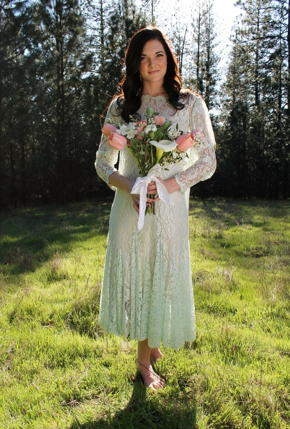 BABY BLUE Vintage 1980's Lace Formal Gown Blue Lace Boho Dress Bridal Mother of the Bride Bridesmaid