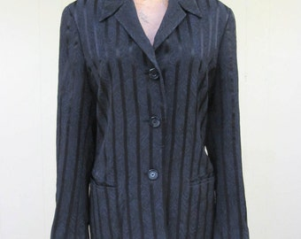 Vintage 1990s Jacket / 90s Black Escada Margaretha Ley Blazer / Medium