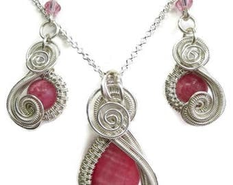 "Rhodochrosite and Sterling Silver Necklace and Earrings Set; ""Mini-Swish"" Style"