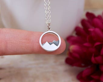 Mountain Necklace Sterling Silver - Mountain Range Necklace - The mountains are calling and I must go