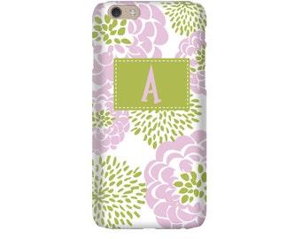 Monogram iPhone 7 Plus * 7 * 6/6S Plus * 6/6S * SE premium lt pink peony phone case personalized with name or initials