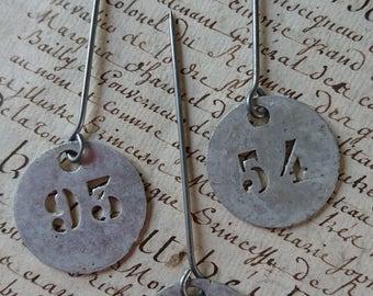 3 Superb antique French zinc apple basket orchard number tags JETONS c1900 BELLE BROCANTE