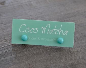 Clous d'oreilles - Turquoise - Bleu poudre - Stud earrings - Argent Sterling - Argent 925 - Bijou minimaliste - Coco Matcha