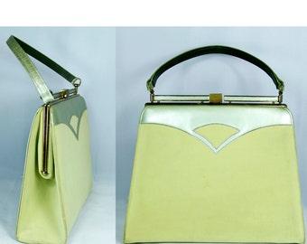Vintage 50s Purse Metallic & Felt Apple Green Kelly Bag Frame and Clasp // Vintage Purses by TatiTatiVintage on Etsy