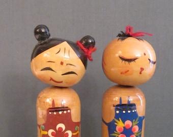 Kokeshi Nodders - Vintage Bobblehead Couple