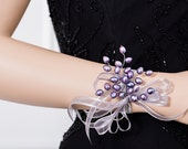 Limited Edition Corsage  - Freshwater Pearl Lavender Purple Corsage - Pearl Corsage - Wrist Corsage