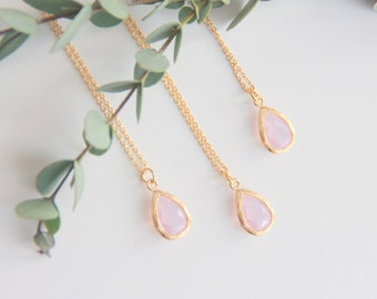 Pink Opal Necklace, Gift for Her, Jewelry, Bridesmaid Jewelry, Bridesmaid Gift, Necklace Gift for Mom, Jewelry Gifts Wife Gift