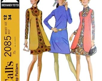 McCalls 2085 Misses' 60s Mini Dress and Vest Sewing Pattern Size 12 Bust 34
