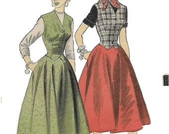 Advance 6548 Womens 50s Weskit Skirt and Dress Sewing Pattern Bust 32