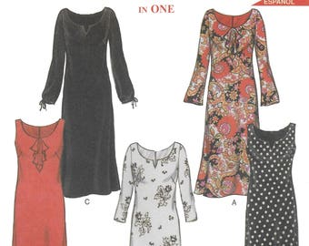 New Look 6000 Misses's Long Dress Sewing Pattern with Varying Sleeves and Collars Size 6 to 16 Bust 30 to 38
