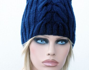 Cat Beanie, Dark Blue Chunky Knit Cat Hat, Winter Accessories, Holiday Fashion, Cat beanie, Cat hat, Cat ear hat, Cat Hat, Knit cat hat.