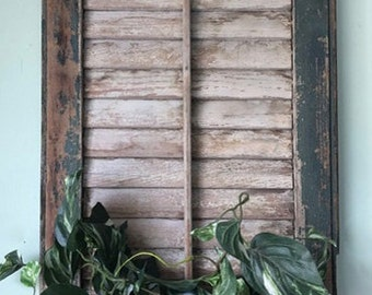 Shutter Wall Decor, Shutter Plant Holder, Shutter Planter, Vintage Shutter