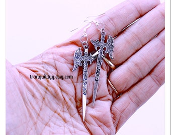 Sword Earrings, Live by the Sword Die By The Sword  Dangle Earrings, Gothic,  By:Tranquilityy