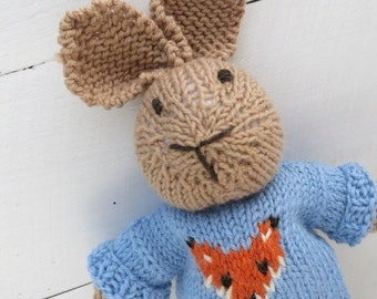 Oliver the Hand Knitted Bunny Rabbit Toy with Blue Fox Jumper