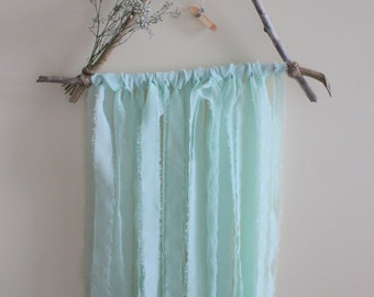 Wall Hanging | Décor | Tangerine Quartz | Driftwood | Dried Flowers | Chiffon | Made to Order
