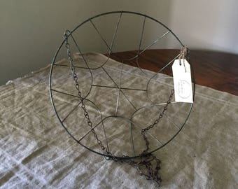 Reserved for Shan. VINTAGE hanging wire basket.  Industrial decor / French kitchen. Great storage / organisation.