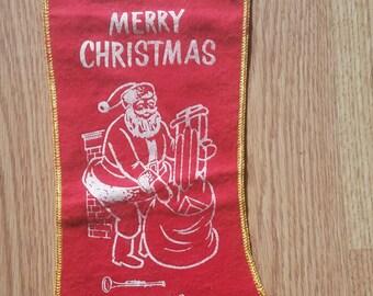 Vintage Red Felt Christmas Stocking with Santa