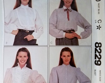Vintage 1980's McCall's 8229 Women's Size 16 Blouse Top Button Down Sewing Pattern 1982