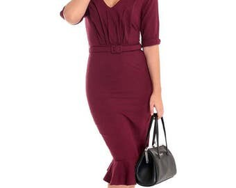 New Vintage 40s Inspired Burgundy Fishtail Pencil Dress Rockabilly Vintage Style